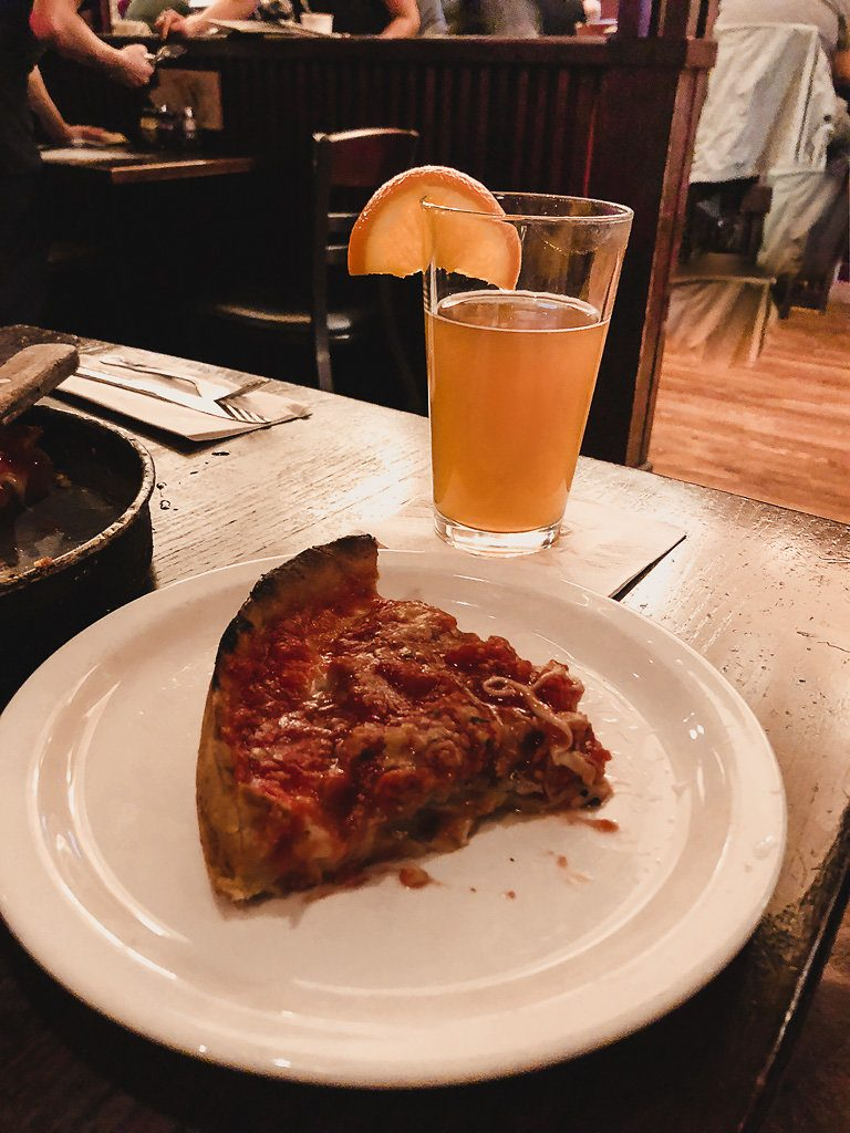 Lou Malnati's pizza and beer